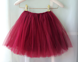 Flower Girl Skirts, Baby Tutu Skirt, Infant Tulle Skirt - Red, Elastic Waist