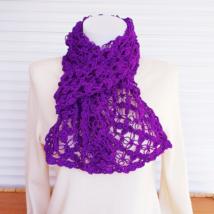 Purple scarf women crochet scarf handmade, neck warmer scarf, autumn lac... - $38.00