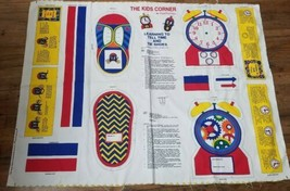 Vtg Kids Corner How to Tell Time Tie Shoes Fabric Craft Panel Cut Sew 35... - $14.54