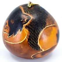 Handcrafted Carved Gourd Art Long Hair Cat Kitten Kitty Ornament Made in Peru image 2