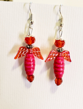 red fairy bead drop earrings dangle wood glass beaded handmade jewelry  - $6.99