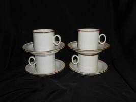 Dansk Designs Flat Cup & Saucer Set of 4 Epoch Brown Dinnerware Vintage Norway - $33.25