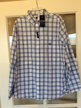 Chaps Button Up Dress Shirt White Blue Striped Mens Large Easy Care Twill New - $19.99