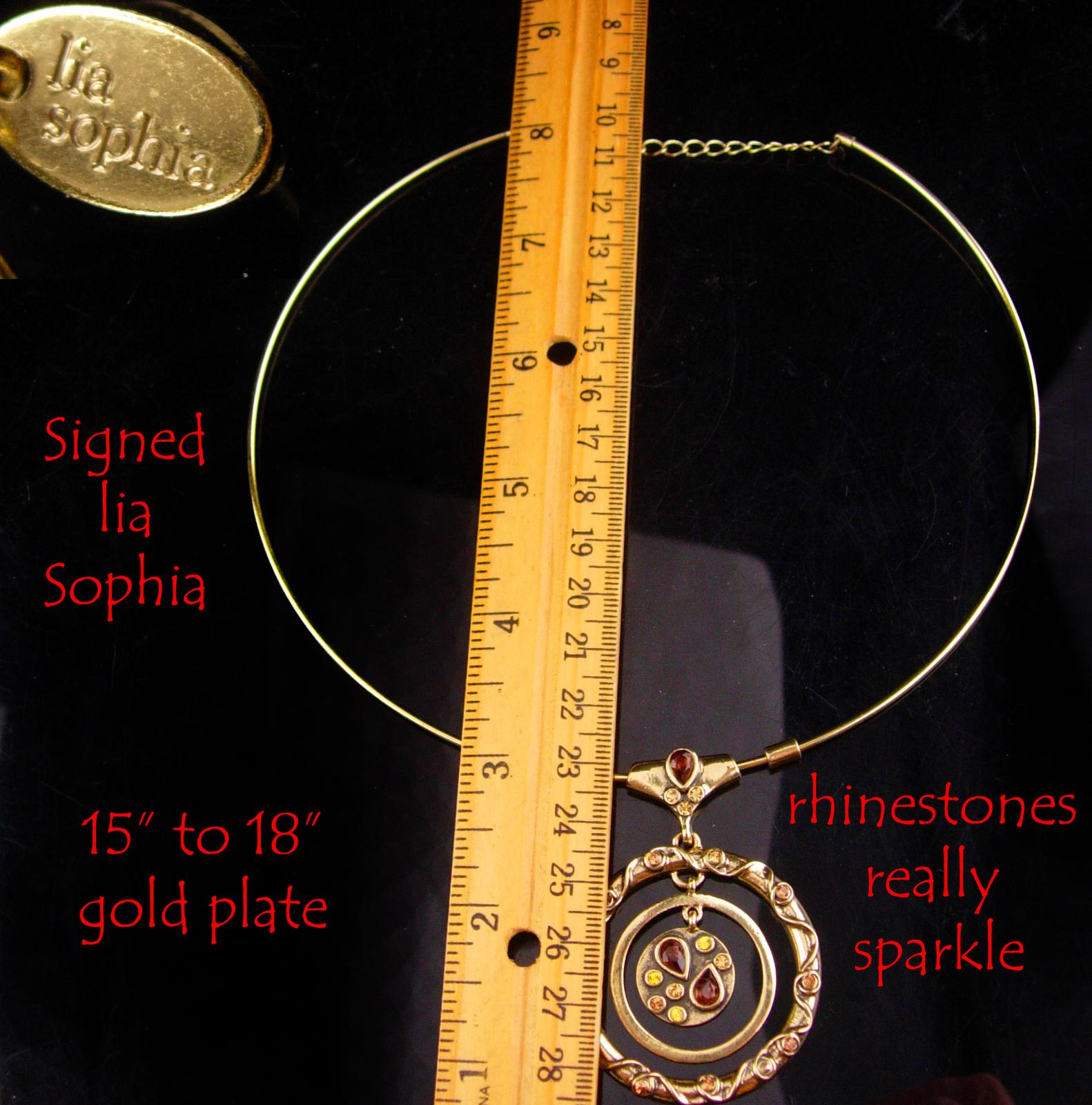 Vintage Signed Modernist necklace - gold hoop choker - HYPNOTIC rhinestone