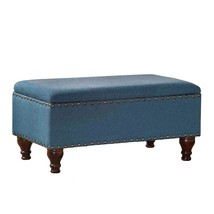 Fabric Upholstered Wooden Storage Bench With Nail head - $317.08