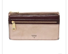NWT Fossil Women's Preston Flap Clutch Leather Wallet Taupe Metallic SL7... - $38.69