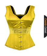 Full Steel Boned Spiral Over bust Strap Halter Bustier Yellow Satin Corset - $50.98+