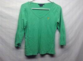 Ralph Lauren Sport Ladies Light Green V-Neck POLO Shirt Sz Medium