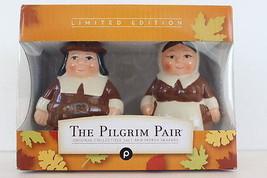 """New In Box The Pilgrim Pair"""" Thanksgiving Serving Salt & Pepper Shakers ... - $19.99"""
