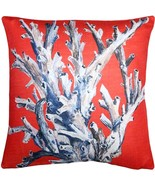 Pillow Decor - Ocean Reef Coral on Red Throw Pillow 20x20 - $64.95