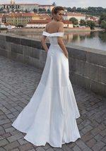 Deluxe Off Shoulder Princess A Line Satin High Split Wedding Dress image 2