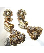 Vintage Damascene Spanish Toledo Jewelry 24K Gold Plated Earrings 2 pairs  - $26.00