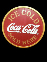 """Coca-Cola Wood Ice Cold Sold Here Disc Round Sign Red Gold 18""""  BRAND NEW - $27.23"""