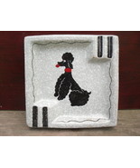 Poodle Ashtray Grey/Black Glazed Italian Majolica Earthenware - WCBG - $8.55
