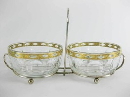 Mid Century Modern Culver Condiment Server Caddy W/2 Glass Bowls Gold En... - $25.00