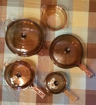 Vintage Corning Pyrex Amber Vision Ware  Glass Cookware 9 pc Set Pots & ... - $118.79