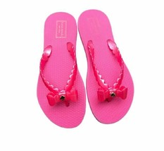 New KATE SPADE Size 5 Signature Charm Bow Jelly Flip Flops Sandals Hot Pink - $24.99