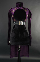 Purple Velvet Openbust Gothic Victorian Steampunk Officer Crop Jacket Ta... - $96.41