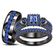 Blue Sapphire Princess Cut His/Her Trio Wedding Ring Set 14k Black Fn 925 Silver - $173.98