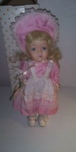 """Pretty in Pink Vintage 10""""  Porcelain Doll in Springtime Outfit With Box - $12.32"""