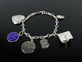 Vintage .925 Sterling Silver Signed Personalized Monogram Charm Bracelet... - $27.53