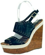 Jessica Simpson Womens Size 8 M Black Faux Leather Stood Wedge Sandals - $35.18