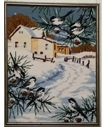 Needlepoint Completed Framed Farm Winter Roger Reinardy Monarch 16x12 1984 Rural - $63.10