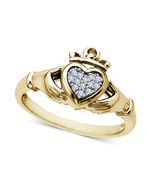 Heart Design Womens Claddagh Engagement Ring 14k Gold Finish 925 Sterlin... - $68.99