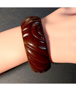 RARE 40s Genuine Bakelite Carved Rust Plum Brown Chunky Bangle Bracelet ... - $110.00
