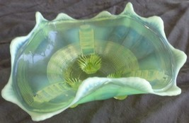 Antique Opalescent Vaseline Glass Footed Flare Rim Stretched Glass Dish ... - $69.29