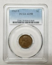 1923S Lincoln Wheat Ears Cent Coin PCGS AU58 Lot A 136