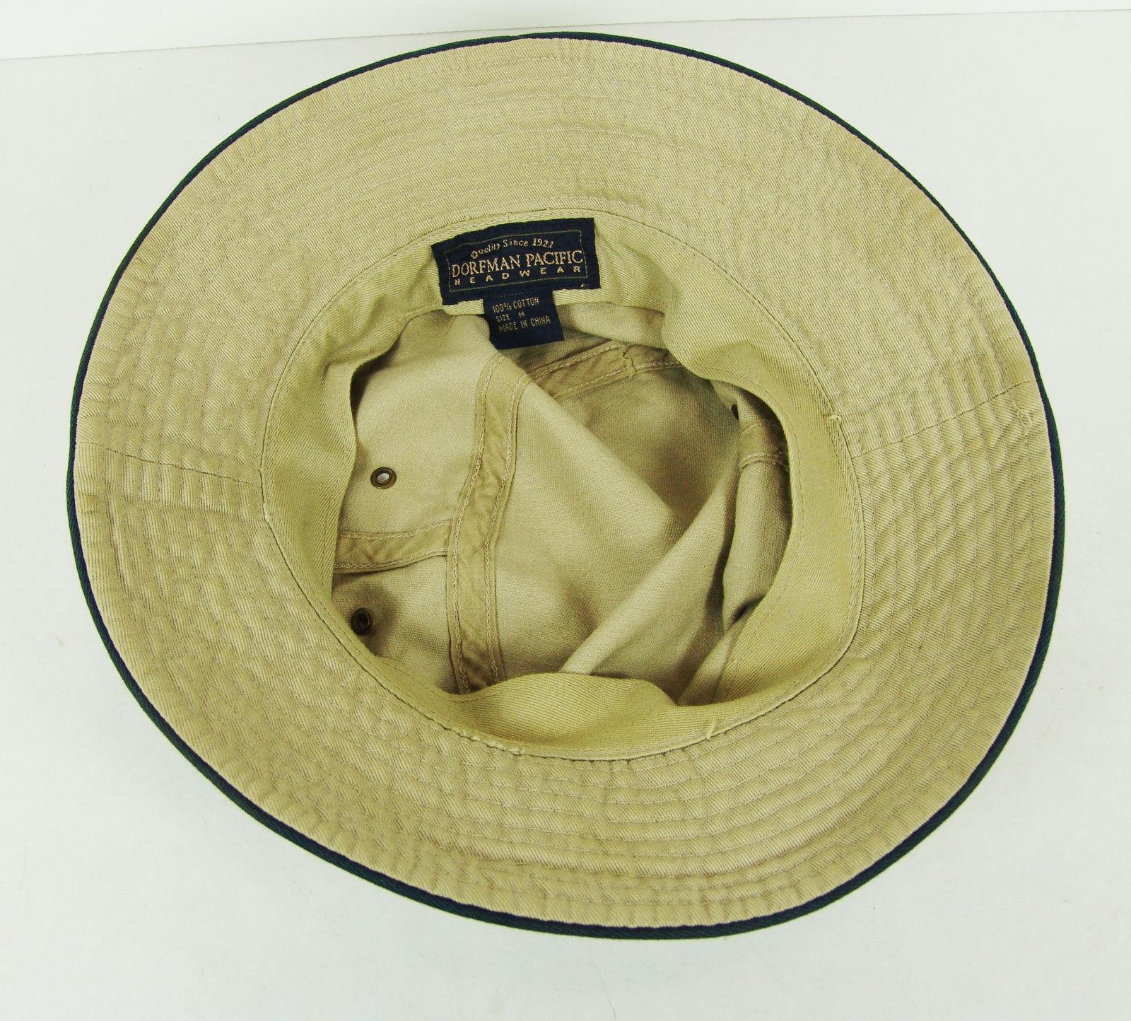 Dorfman Pacific Khaki Bucket Hat Size M 100% Cotton Packable Summer Sun  Outdoor e2fb26368eb2