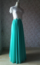 Blue Green Maxi Chiffon Skirt Silk Chiffon Maxi Skirt Wedding Chiffon Skirt image 5