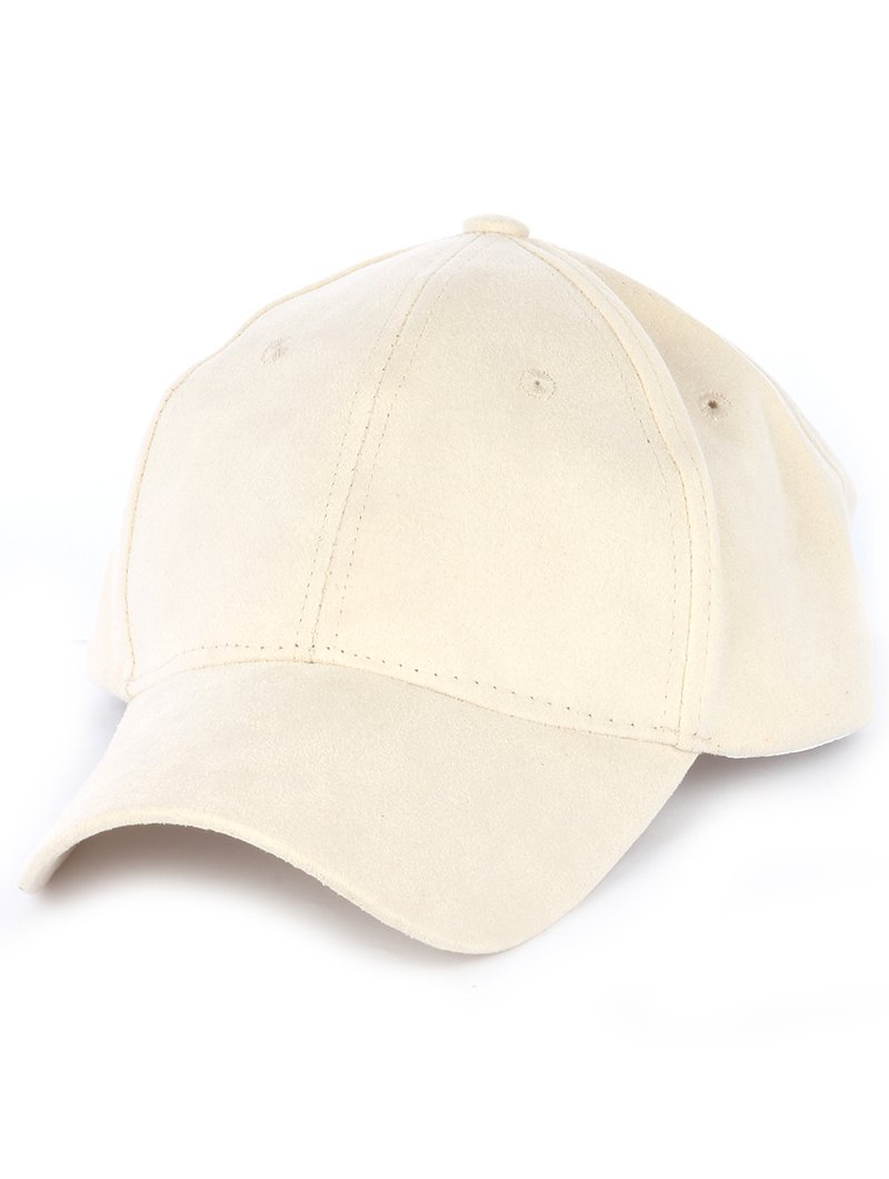Solid Colored Baseball Cap Hat - Faux Suede (Beige)