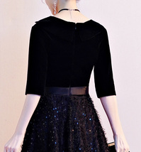 Women Half Sleeve Velvet Maxi Dress High Waist Formal Dress, Black, Plus Size image 9
