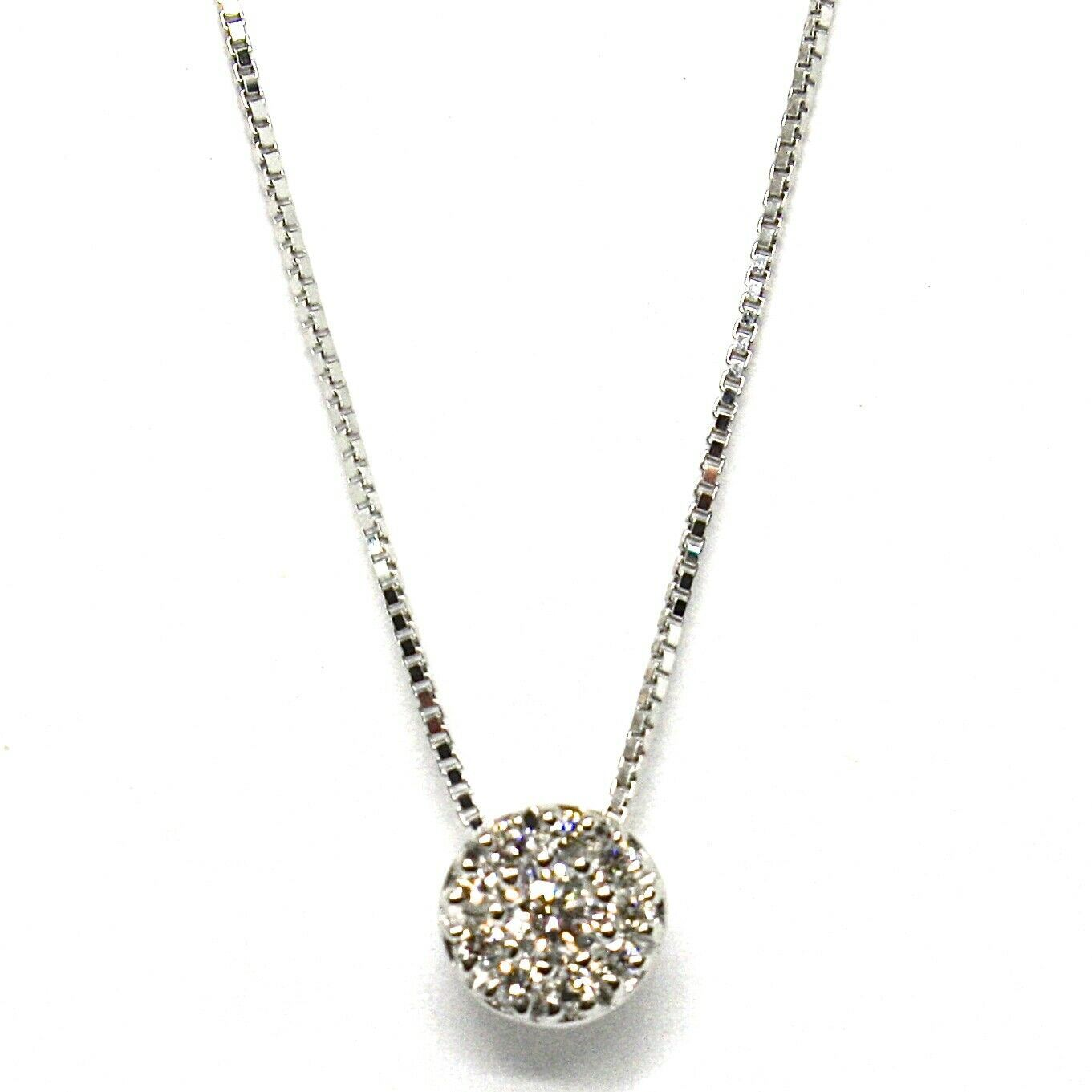 18K WHITE GOLD NECKLACE CENTRAL FRAME DIAMONDS .11 FLOWER PENDANT VENETIAN CHAIN