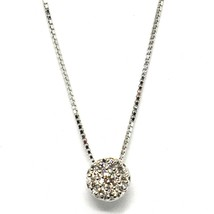 18K WHITE GOLD NECKLACE CENTRAL FRAME DIAMONDS .11 FLOWER PENDANT VENETIAN CHAIN image 1