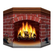 Christmas Brick Fireplace Stand-Up Cardboard Amazing Winter Festive Deco... - £17.35 GBP