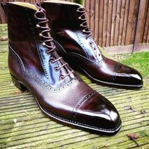 Handmade Men's High Ankle Lace Up Leather Boots image 3