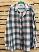 Tommy Bahama Men's 2XT Shirt Blue Mocha Coral Plaid L/S Buttons Front 2 Pockets - $27.40