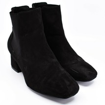 """Boohoo Faux Black Suede 2.3"""" Heel Ankle Boots Booties Size 10"""