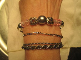 BEADED STRETCH BRACELET - Pink, Silver and Crystal - Free Shipping - $10.75