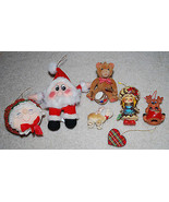 Vintage Christmas Ornaments LOT Reindeer Heart Dog Bear Doll Santa Mrs C... - $14.80