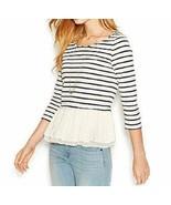 Maison Jules Sweater Top Sz L Poseidon Combo Layered Shirt Hem Light Kni... - €26,64 EUR
