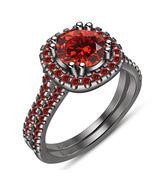 14k Black Gold Finish 925 Solid Silver Red Garnet Womens Wedding Bridal Ring Set - $89.43