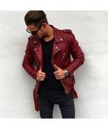 New Men Genuine Lambskin Leather Jacket Maroon Slim fit Biker Motorcycle... - $69.29+