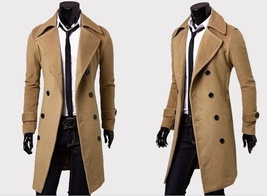 Fashion men leisure long coat wool overcoat image 5