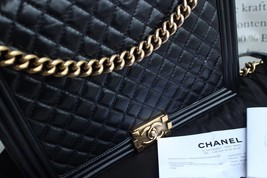 AUTHENTIC CHANEL BLACK QUILTED GLAZED CALFSKIN LARGE BOY FLAP BAG RECEIPT GHW image 8