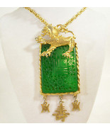 HATTIE CARNEGIE Jade Green DRAGON Pendant Necklace Dangle Asian Vintage ... - $247.49
