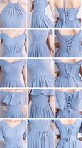DUSTY BLUE Bridesmaid Dress 2019 Summer Chiffon Dusty Blue Bridesmaid Maxi Dress image 9